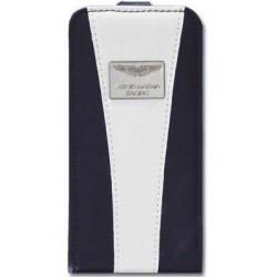 Coque cuir originale blanche et bleue ASTON MARTIN pour iPhone 5 et 5S
