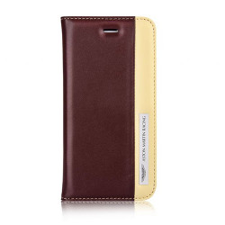 Etui cuir original portefeuille marron et beige ASTON MARTIN pour iPhone 6 et iPhone 6S