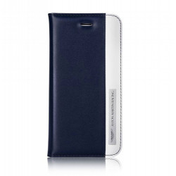 Etui cuir original portefeuille bleu marine et blanc ASTON MARTIN pour iPhone 6