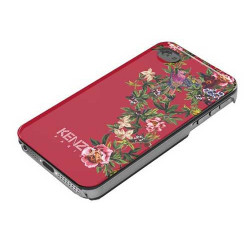 Coque KENZO iPhone 5 rouge glossy à motif fleuri