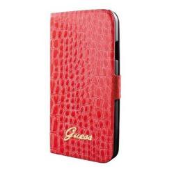 Etui Folio Guess rouge effet cuir texturé Galaxy S4
