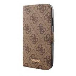 Galaxy S4 Etui folio Guess marron effet cuir texturé