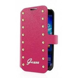 Etui Folio cuir rose GUESS Studded Collection samsung Galaxy S4