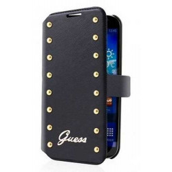Etui Folio cuir noir GUESS Studded Collection samsung Galaxy S5