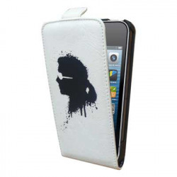 Etui Rabat Cuir Blanc Licence Karl Lagerfeld pour I-Phone 5/ 5S