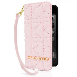Etui Folio Matelassé rose Porte Cartes Karl Lagerfeld IPhone 5/5S