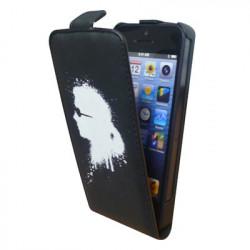 Etui Rabat Cuir noir Licence Karl Lagerfeld pour IPhone 5/ 5S