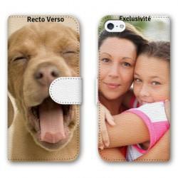 Etui cuir RECTO VERSO personnalisé pour iPhone 5 5s et iPhone SE