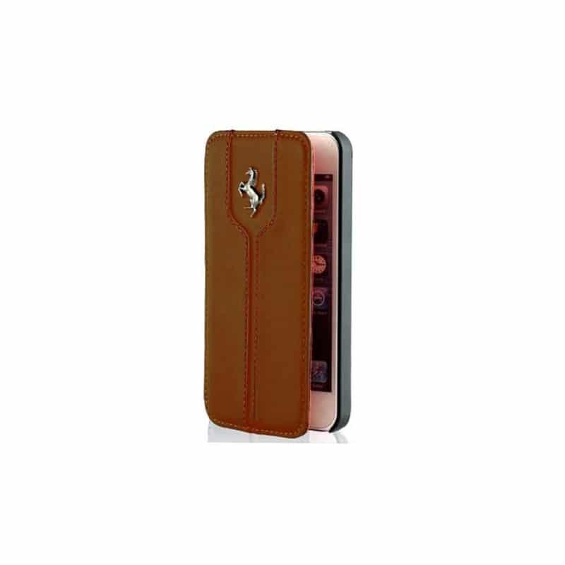 Housse etui folio iphone 5 5s ferrari marron for Housse iphone 5s