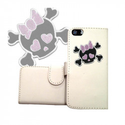ETUI CUIR PORTEFEUILLE FUNNY SKULL 2 POUR IPOD TOUCH 6