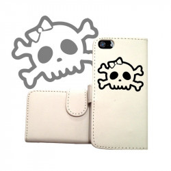 ETUI CUIR PORTEFEUILLE FUNNY SKULL POUR IPOD TOUCH 6
