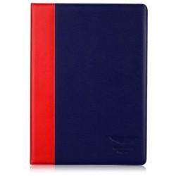 Etui cuir originale bleu fonce et rouge ASTON MARTIN pour iPad air et iPad air 2