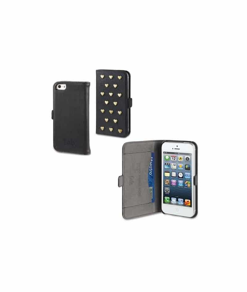 etui rabattable portefeuille noir clous fab pour iphone 5. Black Bedroom Furniture Sets. Home Design Ideas