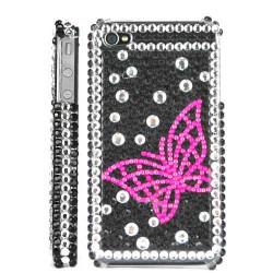 Coque Diamond PAPILLON rose pour Iphone 4 et4S