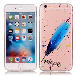 Coque souple transparente PLUME BLEUE pour iPhone 6+ et iPhone 6+ S