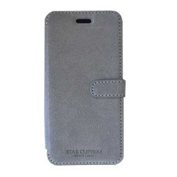 Etui portefeuille originale STARCLIPPERS en cuir gris pour iPhone 7 plus