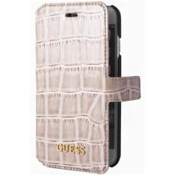 Etui cuir crocodile original beige GUESS pour iPhone 7