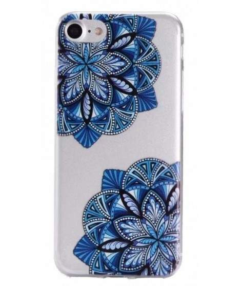 Coque GEL FLOWERS BLEUE pour iPhone 7