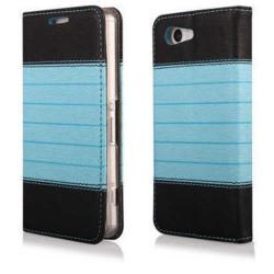 Etui cuir portefeuille bleu magnetic pour iPhone 5 et 5S