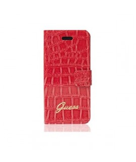 Etui cuir folio crocodile original rose GUESS pour iPhone 5, 5S et SE