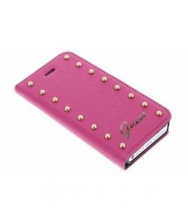 Etui cuir folio crocodile original rose GUESS pour iPhone 5, 5S et SE