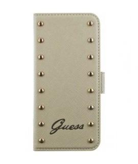 Etui cuir folio clouté original doré GUESS pour iPhone 5, 5S et SE
