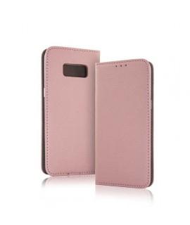 Etui Galaxy S8 book type rose en cuir