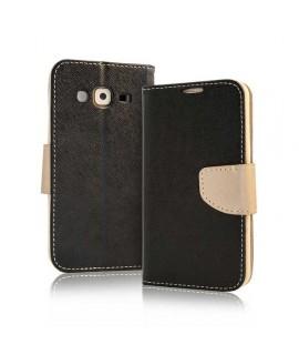 Etui cuir FANCY NOIR ET BEIGE Samsung Galaxy S8