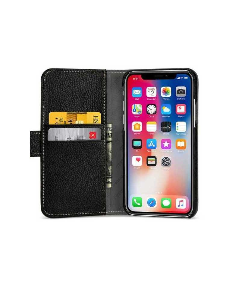 etui rabattable noir portefeuille pour iphone x. Black Bedroom Furniture Sets. Home Design Ideas