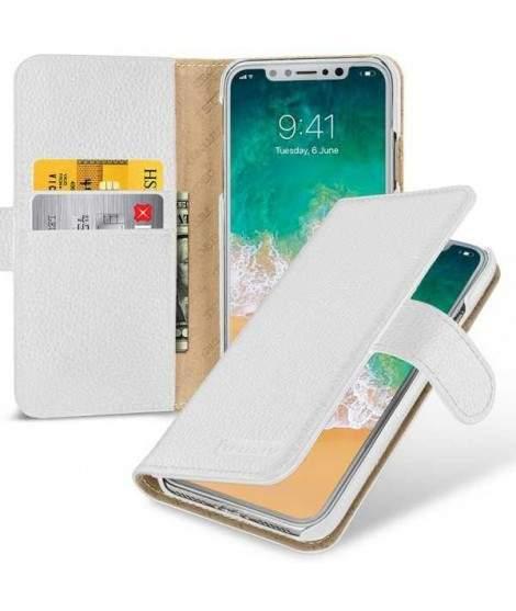Etui cuir portefeuille blanc pour iPhone X