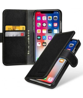 Etui cuir noir portefeuille iPhone X/XS