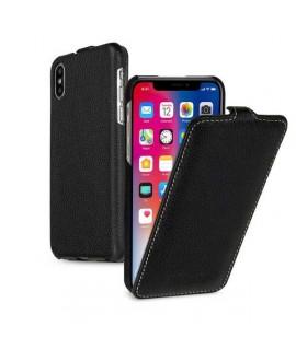 Etui cuir noir clapet pour iPhone X