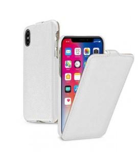 Etui cuir blanc clapet pour iPhone X