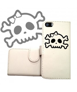 ETUI CUIR PORTEFEUILLE FUNNY SKULL POUR IPHONE 8