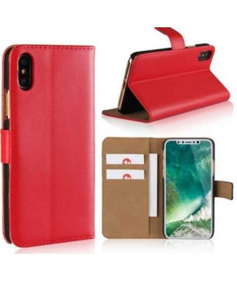 Etui cuir rouge portefeuille iPhone X