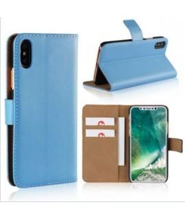 Etui cuir bleu portefeuille iPhone X