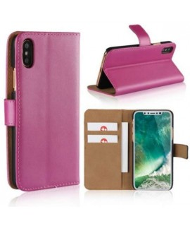 Etui cuir rose portefeuille iPhone X