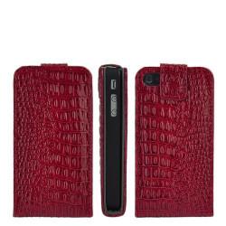 Etui CROCODILE en cuir rouge pour Iphone 4 et 4S
