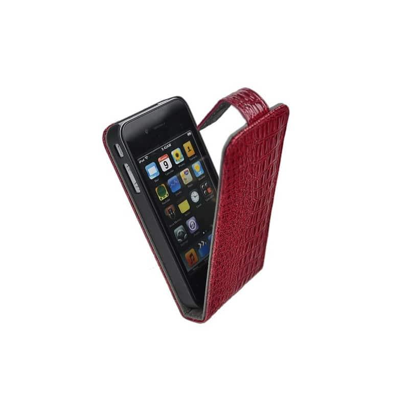 etui crocodile en rabattable rouge pour iphone 4. Black Bedroom Furniture Sets. Home Design Ideas