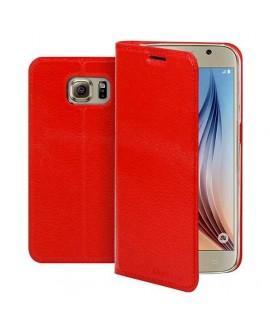 Etui cuir portefeuille rouge pour SAMSUNG GALAXY S6 Edge Plus