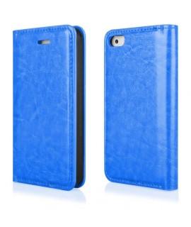 Etui portefeuille en cuir bleu pour Iphone 4 et 4s