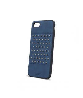 Coque cuir FASHION CLOU bleue marine pour iPhone 6 et 6S