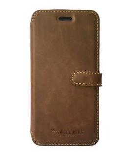 Etui portefeuille originale STARCLIPPERS en cuir marron pour iPhone 8+