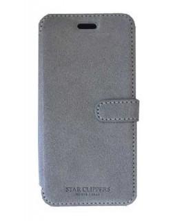 Etui portefeuille originale STARCLIPPERS en cuir gris pour iPhone 8+