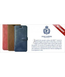 Etui portefeuille originale STARCLIPPERS en cuir bleu pour iPhone X