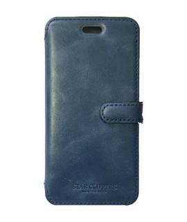Etui portefeuille originale STARCLIPPERS en cuir bleu pour iPhone XS