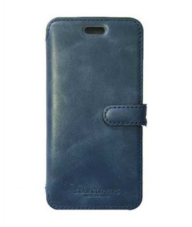 Etui portefeuille originale STARCLIPPERS en cuir bleu pour iPhone XS MAX