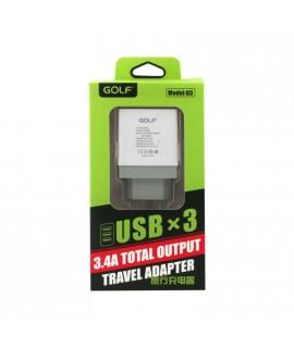 """Chargeur secteur 3 USB """"charge rapide""""  3.4 A pour téléphones, tablettes ou lecteurs MP3"""
