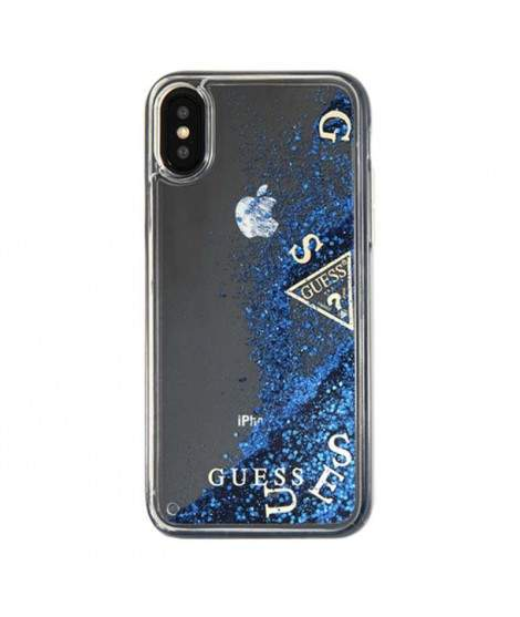 offer discounts classic style temperament shoes coque GUESS bleue - transparente iPhone X/XS