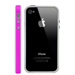 Bumper LUXE rose et blanc pour Iphone 4 et 4S